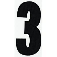 Parche bordado NUMERO 4 NEGRO 10cm X 5cm