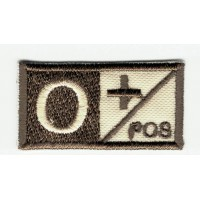 Patch embroidery BLOOD GROUP O POSITIVE 4cm x 2cm