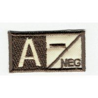 Patch embroidery BLOOD GROUP A NEGATIVE 4cm x 2cm