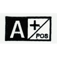 Patch embroidery BLOOD GROUP A POSITIVE BLACK 5cm x 2,5cm