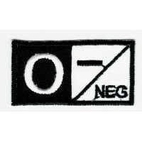 Patch embroidery BLOOD GROUP O NEGATIVE BLACK 5cm x 2,5cm