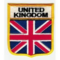 Patch embroidery SHIELD FLAG UNITED KINGDOM 6cm x 7cm