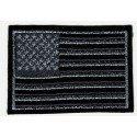 Embroidered patch AMERICAN SILVER FLAG OLD SILVER USA 7,5cm x 5cm