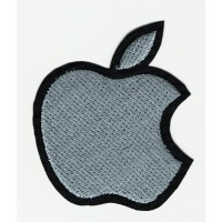 Parche bordado APPLE GRIS 5cm x 6cm