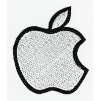 embroidery patch APPLE GRAY SILVER 5cm x 6cm