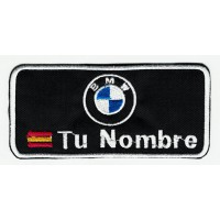 Embroidery Patch FLAG WITH YOUR NAME BMW 10cm x 4.5 cm NAMETAPE