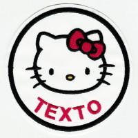Parche bordado KITTY TU TEXTO 7,5cm