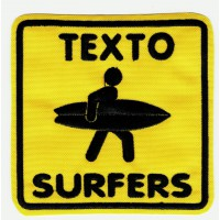 Patch embroidery SURFERS YOUR TEXT 8cm x 8cm