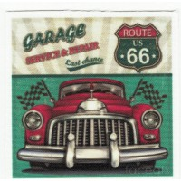 Parche textil ROUTE 66 GARAGE 7cm x 7cm