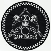 Parche bordado CAFE RACER PISTONES 9cm diámetro