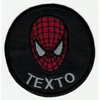Patch embroidery BLACK SPIDERMAN YOUR TEXT 7,5cm