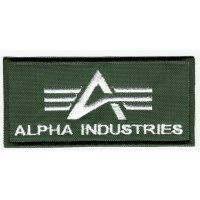 Embroidered patch ALPHA INDUSTRIES GREEN 10cm x 4.5cm