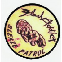 Embroidery patch and textile FLASH ADDICT SLEAZE PATROL 10cm