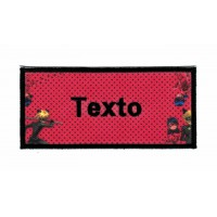 Parche bordado y textil LADYBUG TEXTO 9cm X 4cm