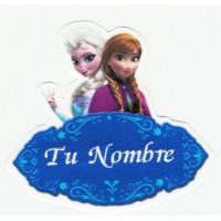 Embroidery and textile patch Parche bordado y textil FROZEN ELSA Y ANA YOUR NAME 10cm x 8,5cm