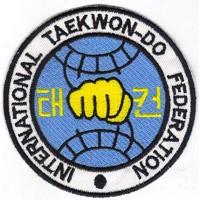 Patch embroidery TAEKWONDO FEDERATION INTERNATIONAL 8CM