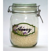 1litre Hermetic Kitchen Jar with Embroidered Label RICE - Lavender