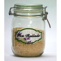 1litre Hermetic Kitchen Jar with Embroidered Label BREAD CRUMBS -Model Lavender