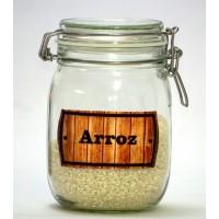 Bote Cocina Hermetico de 1litro con Etiqueta Bordada ARROZ -Modelo Lavanda