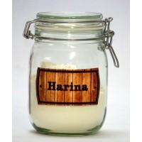 Bote Cocina Hermetico de 1litro con Etiqueta Bordada HARINA -Modelo Lavanda