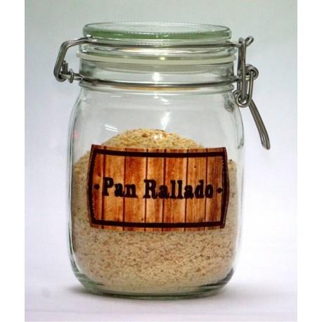 Bote Cocina Hermetico de 1litro con Etiqueta Bordada PAN RALLADO -Modelo Madera