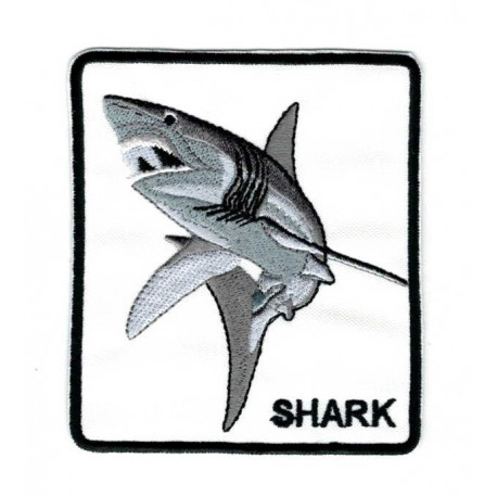 Embroidery patch SHARK 8cm x 9cm