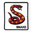 Embroidery patch ORANGE SNAKE 8cm x 9cm