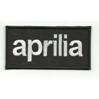 Parche bordado APRILIA NEGRO 8.5cm x 4.5cm