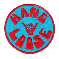 Embroidery patch HANG LOOSE LIGHT BLUE 8cm