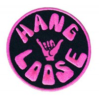Patch embroidery HANG LOOSE PINK 8cm