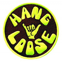 Embroidery patch HANG LOOSE YELLOW 8cm