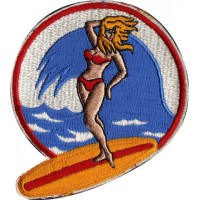 Patch embroidery GIRL SURFING 7,5cm x 7,5cm