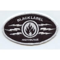 Embroidery Patch BLACK LABEL BROWN 9cm x 4cm