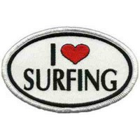 Embroidery Patch I LOVE SURFING 8cm x 4,cm