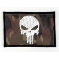 Embroidered patch FLAG FLEKTARN WHITE SKULL (The punisher) 7,5cm x 5cm