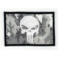 Embroidered patch FLAG URBAN DIGITAL WHITE SKULL (The punisher) 7,5cm x 5cm