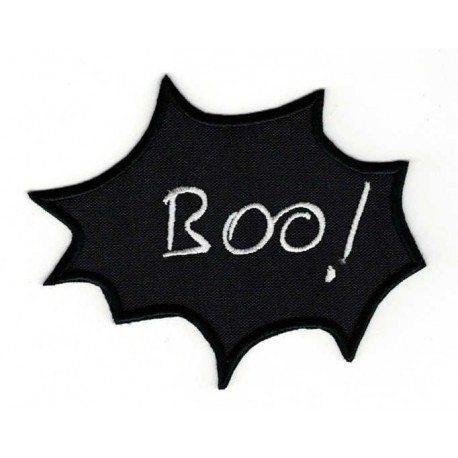 Embroidered patch BULLET SPEECH BLACK BOO! 6cm x 5cm