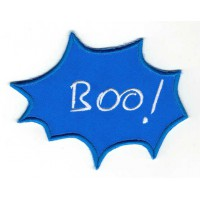 Embroidered patch BULLET SPEECH BLUE BOO! 6cm x 5cm