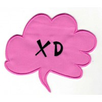 Embroidered patch BULLET SPEECH PINK XD 6cm x 5,5cm