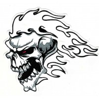 Embroidery patch SKULL FLAME 19cm x 17cm
