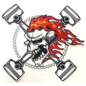 Embroidery patch SKULL PISTONS 11,7cm x 12,2 cm