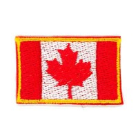 Embroidery patch FLAG CANADA YELLOW BORDER 7CM X 5CM