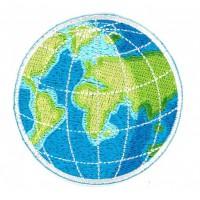 Embroidery patch GLOBE HEMISPHERIES 6cm