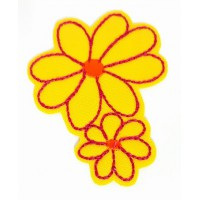 Embroidered patch TWO YELLOW FLOWERS 2,8cm x 3,2cm