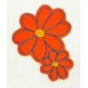 Embroidered patch TWO ORANGE FLOWERS 2,8cm x 3,2cm