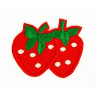 Embroidered patch STRAWBERRIES 3cm x 2,3cm