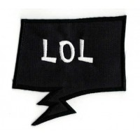 Embroidered patch BULLET SPEECH BLACK LOL 3cm x 2,8cm