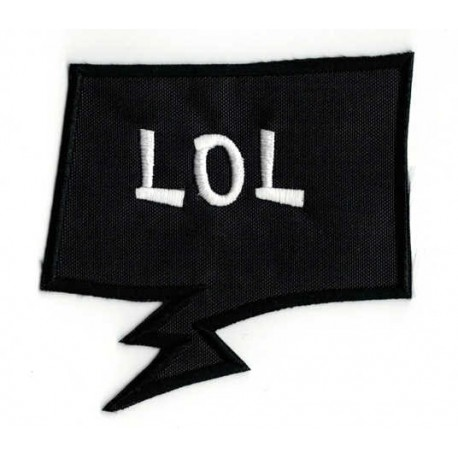 Embroidered patch BULLET SPEECH BLACK LOL 5.5cm x 6.5cm