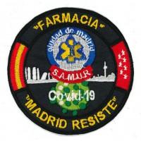 Embroidery patch CORONAVIRUS COVID-19 MADRID RESISTE FARMACIA 9cm
