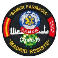 Embroidery patch CORONAVIRUS COVID-19 MADRID RESISTE SAMUR FARMACIA 9cm